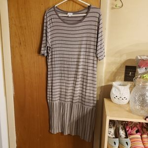 Lularoe striped midi t shirt dress